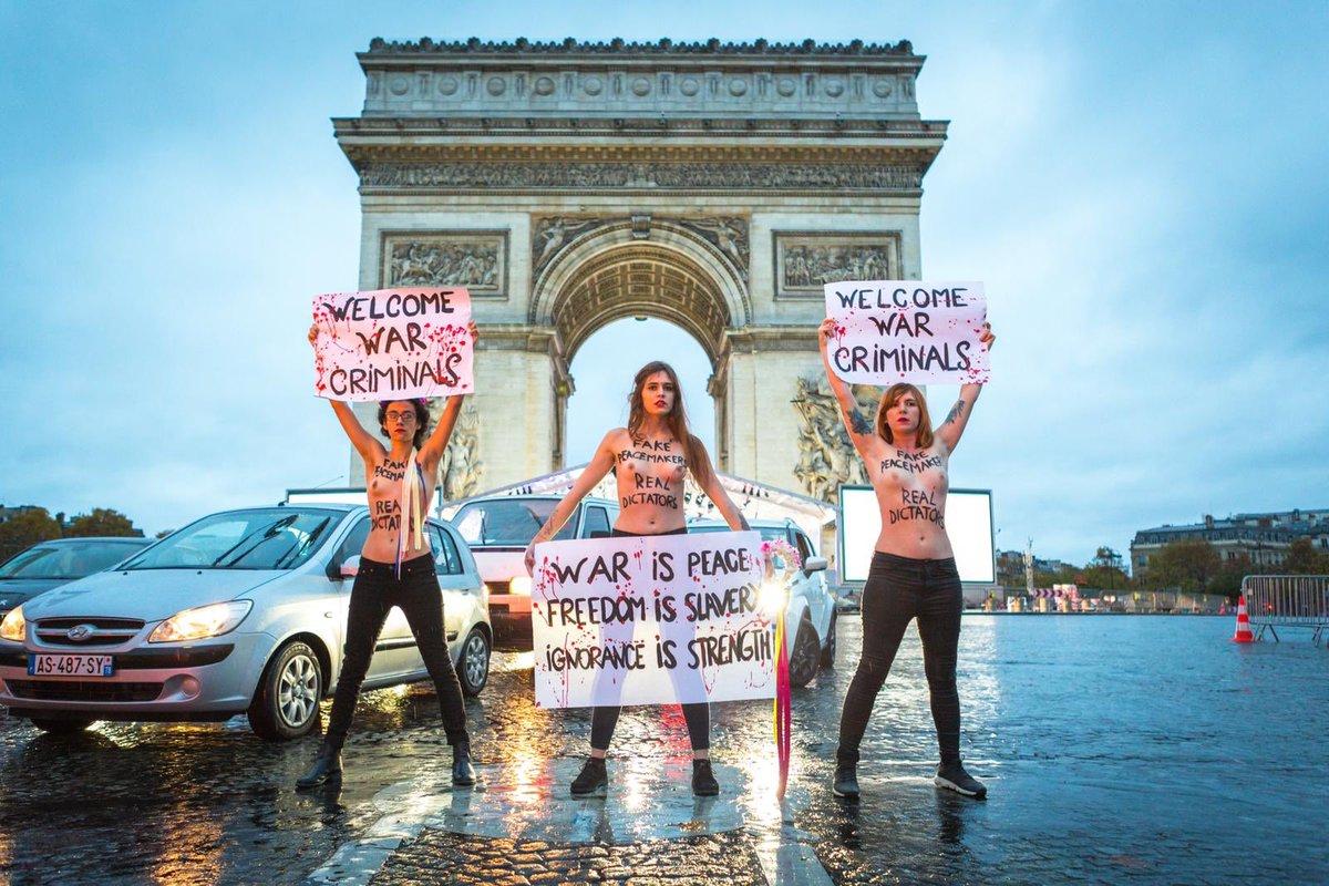 Image result for FEMEN'den Paris eylemi: Gerçek diktatörler hoş geldiniz