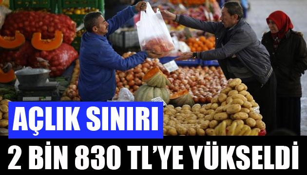 Açlık sınırı 2 bin 830 TL ye yükseldi
