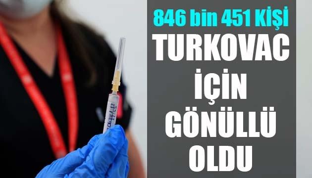 846 bin 451 kişi TURKOVAC için gönüllü oldu